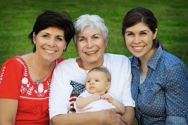 Four generations: Me, my mom Claudette, my daughter Paige, and my granddaughter Annelise.