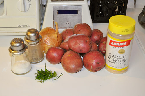 Ingredients for pan fried potatoes, missing from the picture is the coconut oil.